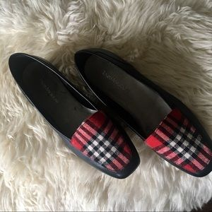 bd791707dc65 Black Leather Loafers with Plaid Trim